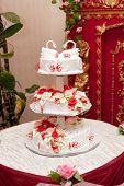 stock photo of figurine  - Wedding cake with figurines - JPG