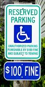 stock photo of handicapped  - Vertical shot of a Handicapped Parking sign - JPG