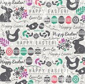 pic of bunny easter  - Background with bunny easter eggs flower chicks hen and 