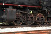 stock photo of train-wheel  - Old steam train locomotive. Black steam train.