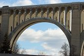 foto of railroad yard  - A view through one of the arches on the Tunkhannock Viaduct - JPG