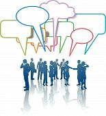 image of people talking phone  - A group of Communication Network Social Media Business People talk in colorful speech bubbles - JPG