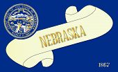 picture of nebraska  - A scroll with the text Nebraska with the flag of the state detail - JPG
