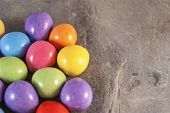 stock photo of laying eggs  - Illustration of  mini eggs laying on a slate table created using median noise reduction - JPG