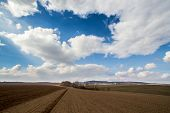 picture of plowed field  - Large field ready for sowing and plowing action in the spring season - JPG