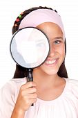 Little Girl With A Large Magnifying Glass