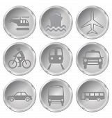 foto of motor coach  - Monochrome transport related icon set isolated on white background - JPG