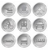 stock photo of motor coach  - Monochrome transport related icon set isolated on white background - JPG