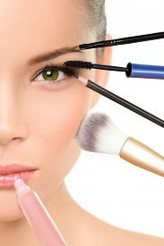 stock photo of face-powder  - Makeup beauty transformation concept face makeover  - JPG