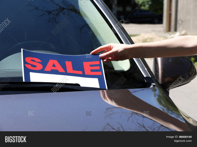 for sale sign on windshield of car stock photo stock images bigstock. Black Bedroom Furniture Sets. Home Design Ideas