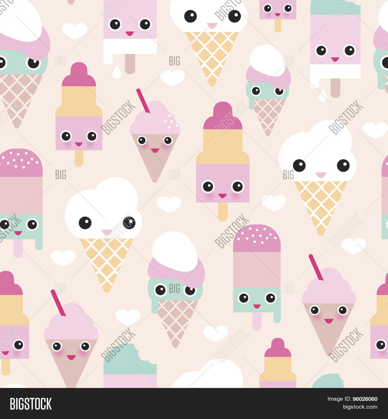 Sweet Ice Cream Flat Colorful Seamless Pattern Vector: Seamless Colorful Pastel Popsicle Adorable Kawaii Summer