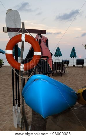 Row Of Kayak On The Beach