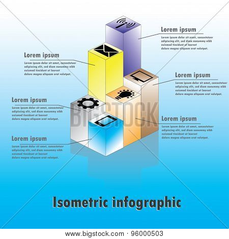 Isometric, Infographics - With Icons And Text, Vector.