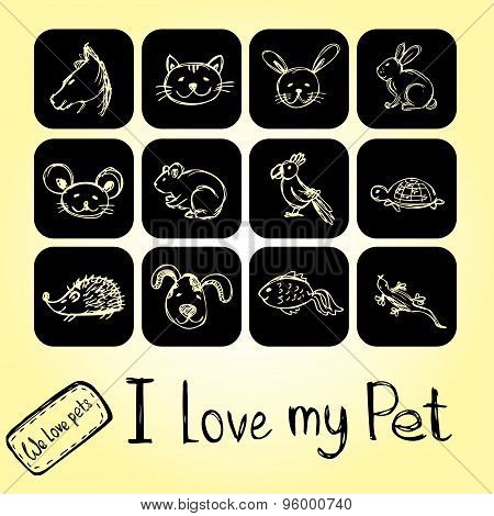 Set Pet Icons , Hand Drawing, Vector.