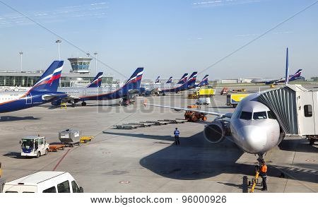 MOSCOW-MAY 8: planes at the Sheremetyevo International airport on May 8 2010 in Moscow Russia