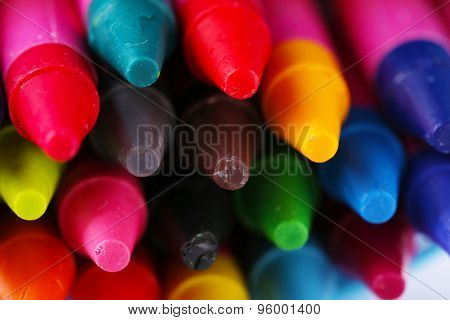 Colorful pastel crayons, closeup