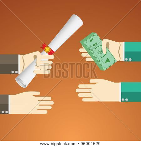 Flat Design Vector Illustration Concept For Payed Education Pross. Concepts For Hands Byeing Diploma