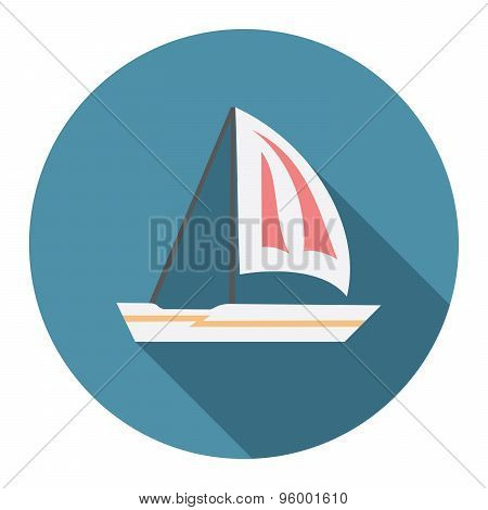 Flat Design Modern Vector Illustration Of Sailing Boat Icon With Long Shadow, Isolated