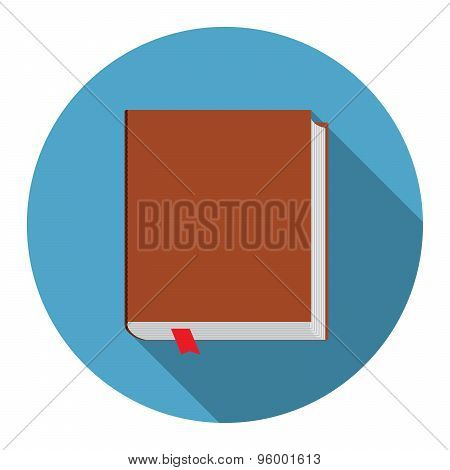 Flat Design Modern Vector Illustration Of Bookicon With Long Shadow, Isolated