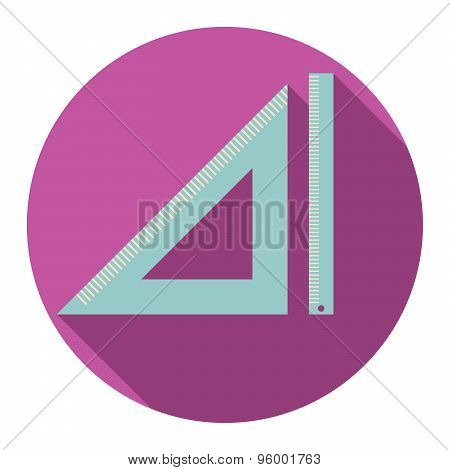 Flat Design Modern Vector Illustration Of Triangle And Straightedge Icon With Long Shadow, Isolated