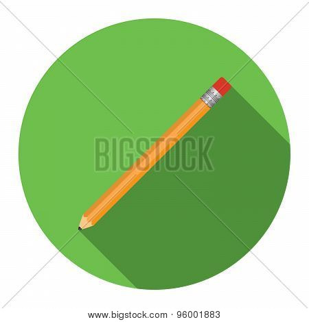 Flat Design Modern Vector Illustration Of Pensil Icon With Long Shadow, Isolated
