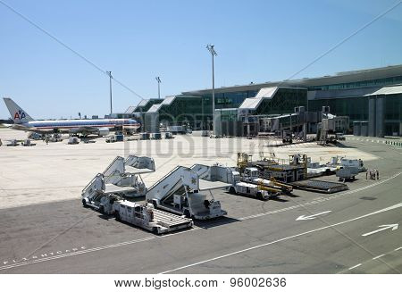 BARCELONA- MAY 11: planes at the Barcelona airport on May 11 2010 in in Barcelona Spain.