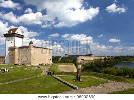 Two ancient fortresses on the parties from the river which is border. Narva Estonia and Ivangorod be