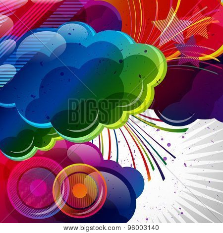Abstract background with colorful elements.
