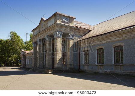 Railway stationin a sunny day  . Narva. Estonia.