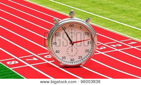 Silver chronometer on running track
