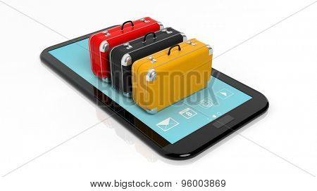 Colorful suitcases on tablet screen, isolated on white