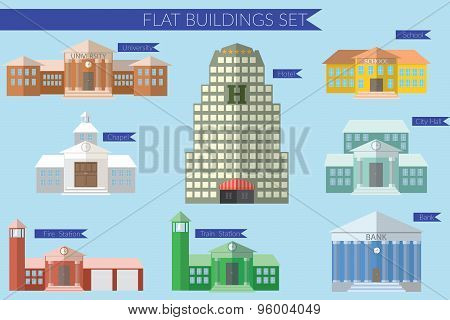 Flat Design Vector Illustration Concept For Building Education Icons Set. University Fire Station, B
