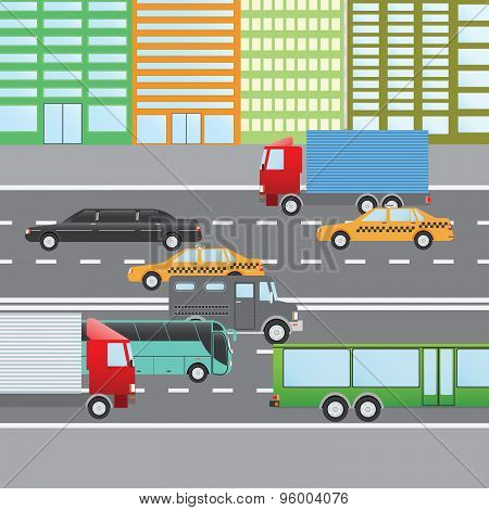Flat Design Vector Illustration Of City Traffic, Transportation Flat Icons. Trucks, Bus, Taxi, Limo,