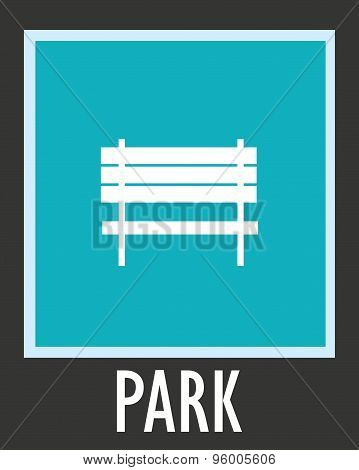 Vector simple icon for rest. Bench in park