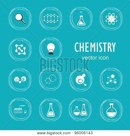Set vector icon in chemistry, biology, medicine