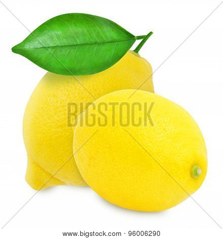 Juicy yellow lemons isolated on a white background