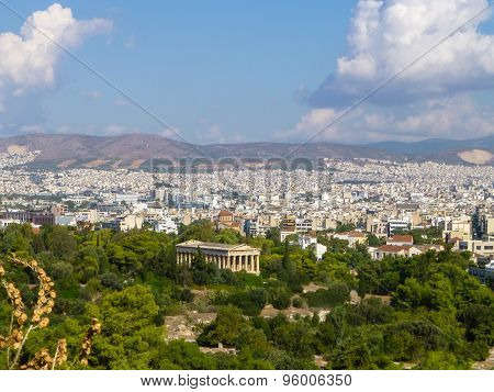 Panorama Of Athens City In Greece With Beautiful Antique Monumen