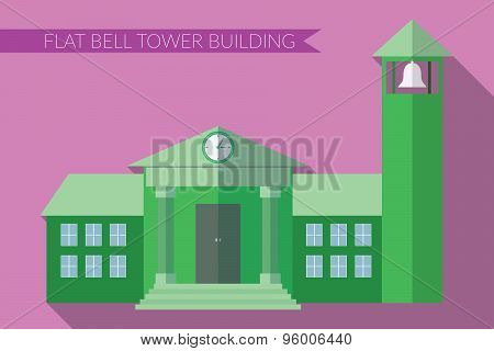Flat Design Modern Vector Illustration Of Building With Bell Tower Icon, With Long Shadow On Color B