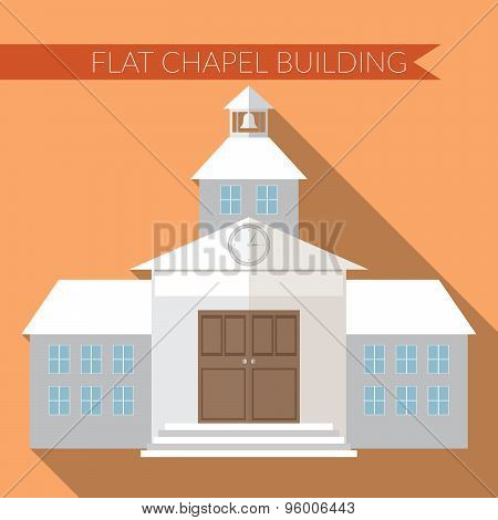 Flat Design Modern Vector Illustration Of Chapel Or Wedding Church Building Icon, With Long Shadow O