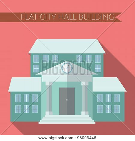 Flat Design Modern Vector Illustration Of City Hall Building Icon, With Long Shadow On Color Backgro