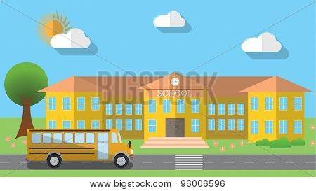 Flat Design Vector Illustration Of School Building And Parked School Bus In Flat Design Style, Vecto