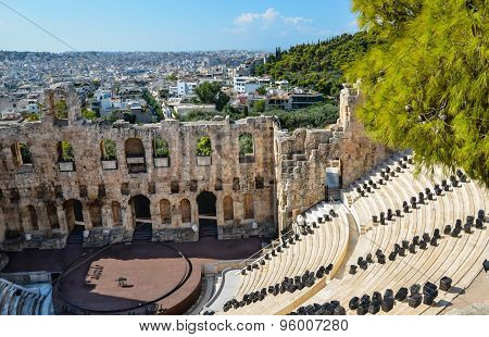 Panorama Of Athens City In Greece  From The Antique Dionysos Theater.