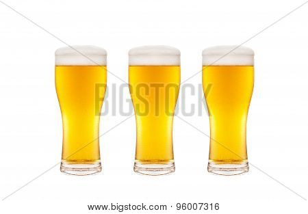 Three beer glasses