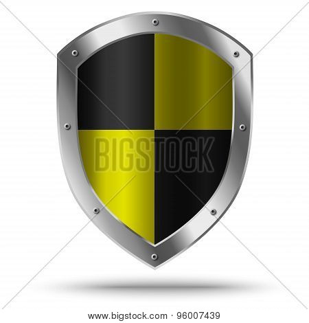 Silver Shield With Yellow Chessboard Pattern. Hazard Symbol.