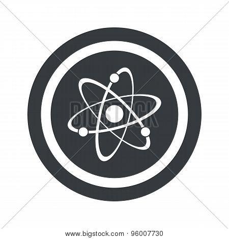 Round black atom sign