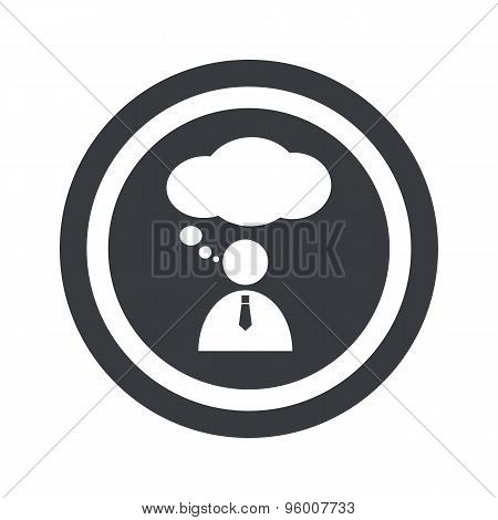 Round black thinking person sign