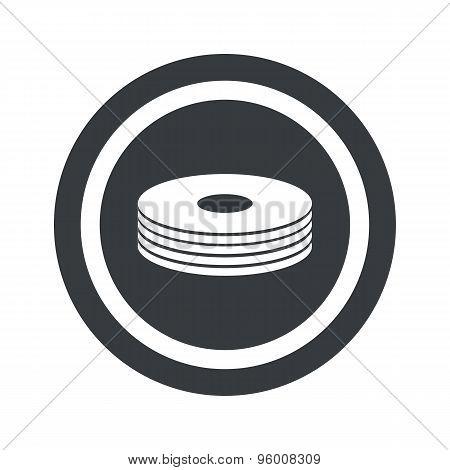 Round black disc pile sign