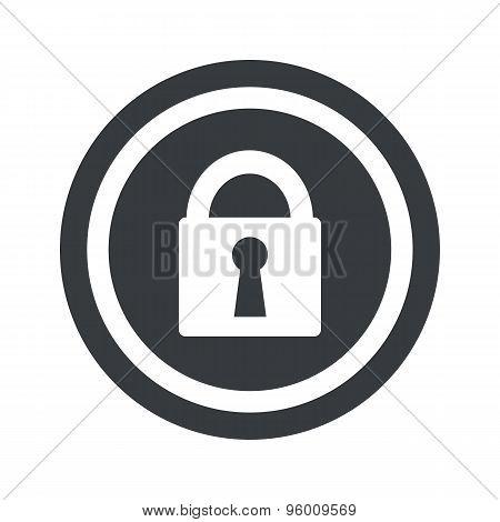 Round black locked sign
