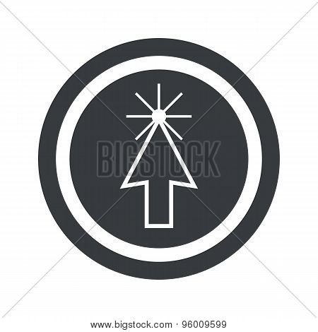 Round black arrow cursor sign