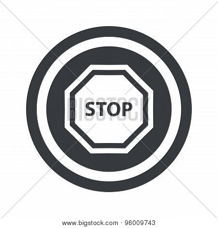 Round black STOP sign